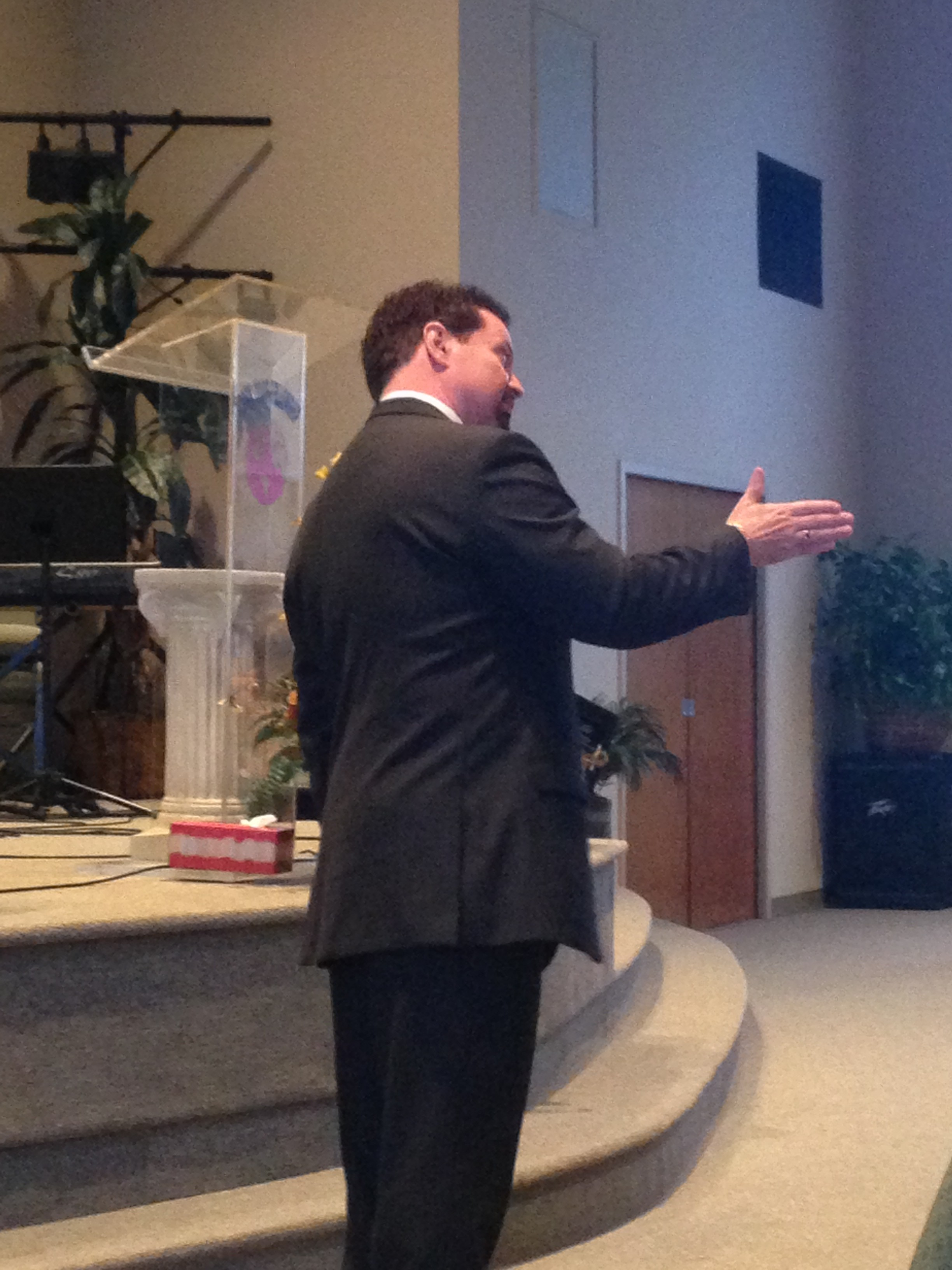 Pastor John Cahill sharing the Word of God